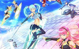 Бесплатные фото девушки,летят,оружие,свет,волосы,глаза,аниме