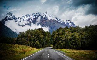Фото бесплатно дорога, горы, деревья
