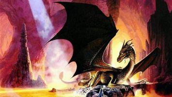 Фото бесплатно дракон, крылья, голова, лапы, когти, камни, скалы, огонь, мультфильмы