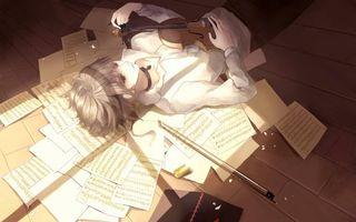 Фото бесплатно мальчик, скрипка, листки