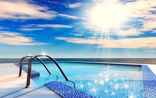 Фото бесплатно бассейн, солнце, пейзажи