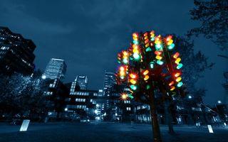 Бесплатные фото ночь,небоскребы,окна,свет,перекресток,светофоры,город