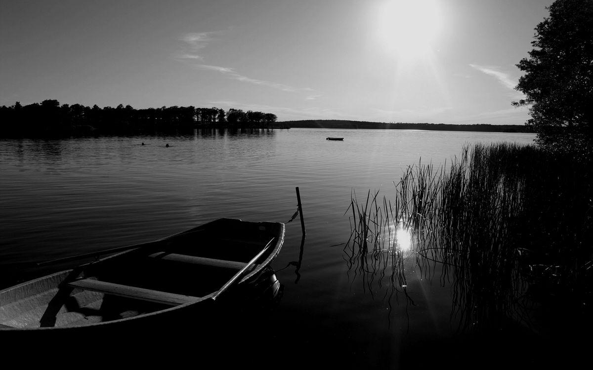 Фото бесплатно озеро, лодка, купальщики, деревья, небо, солнце, черно-белое, разное, разное - скачать на рабочий стол