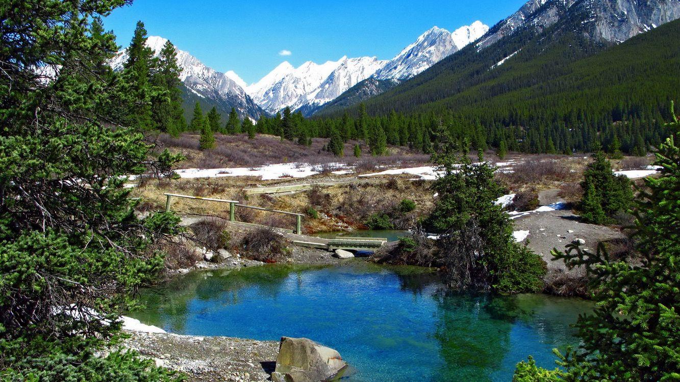 Фото бесплатно озеро, вода, деревья, лес, горы, снег, природа, природа