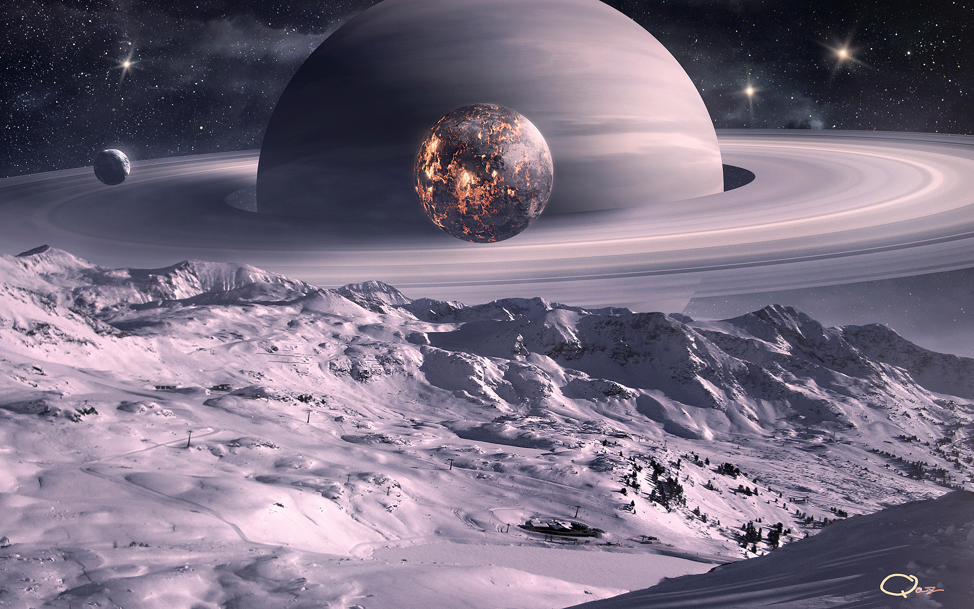 Обои планета, сатурн, юпитер, гигант