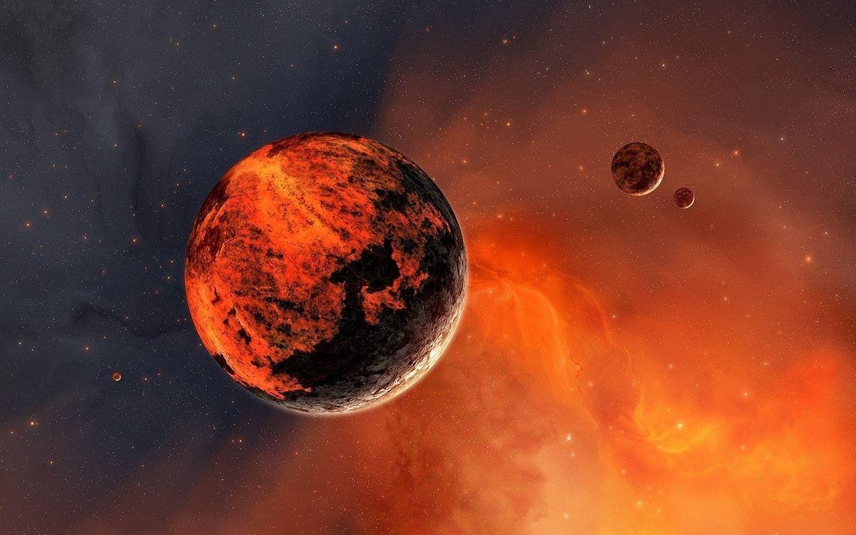 Фото бесплатно планета, звезды, спутник, туманность, галактика, свет, камни, газ, космос, космос