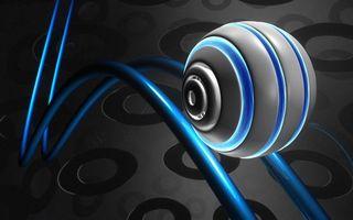 Фото бесплатно шар, круг, линии, синий, серый, заставка, фон, волнистый, круглый, 3d графика, абстракции, разное
