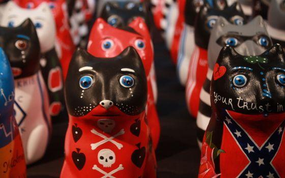 Фото бесплатно статуэтки, кошки, цветные