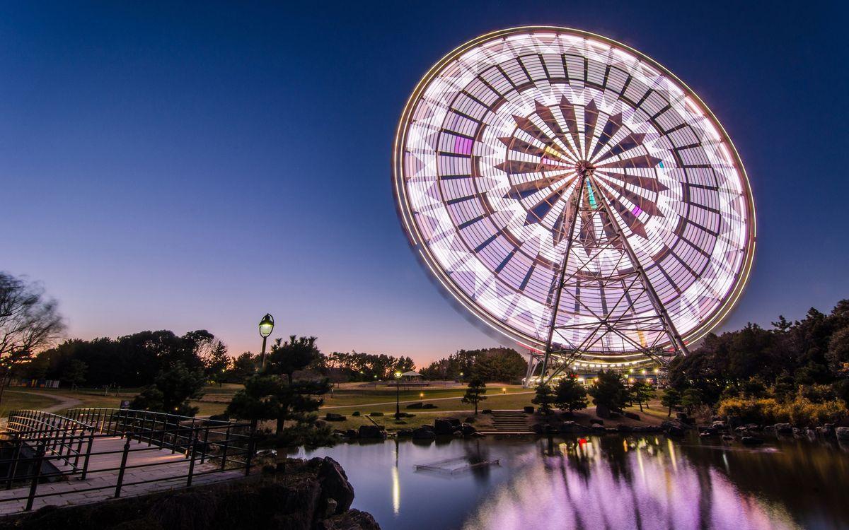 Фото бесплатно вечер, парк, озеро, фонари, колесо, обозрения, город, город