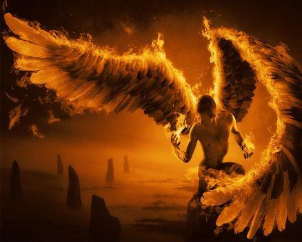 Бесплатные фото wings,fantasy,orange,фантастика