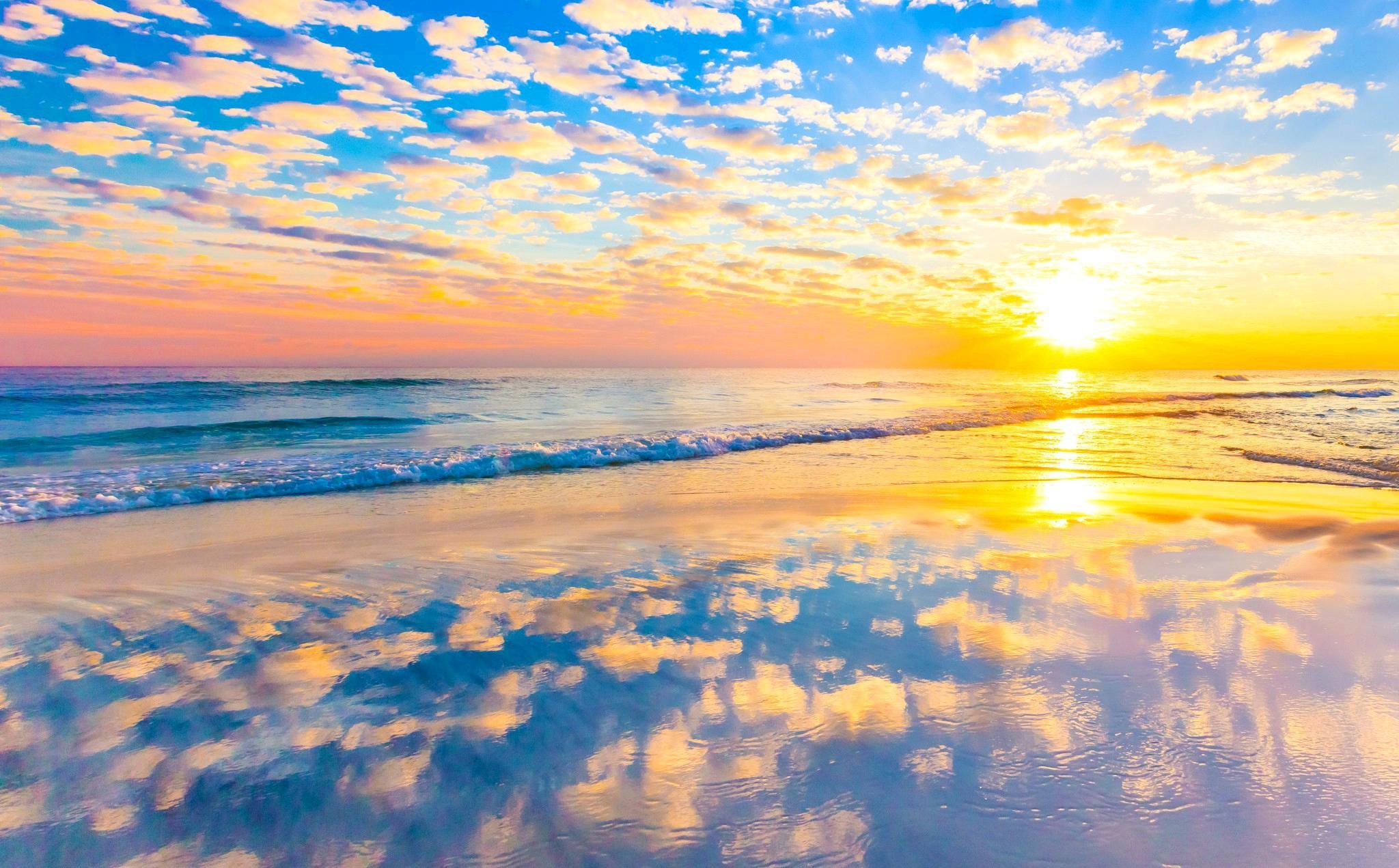 обои закат, море, волны, пляж картинки фото