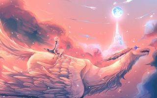 Заставки девушка, полет, крылья, замок, тучи, небо, аниме