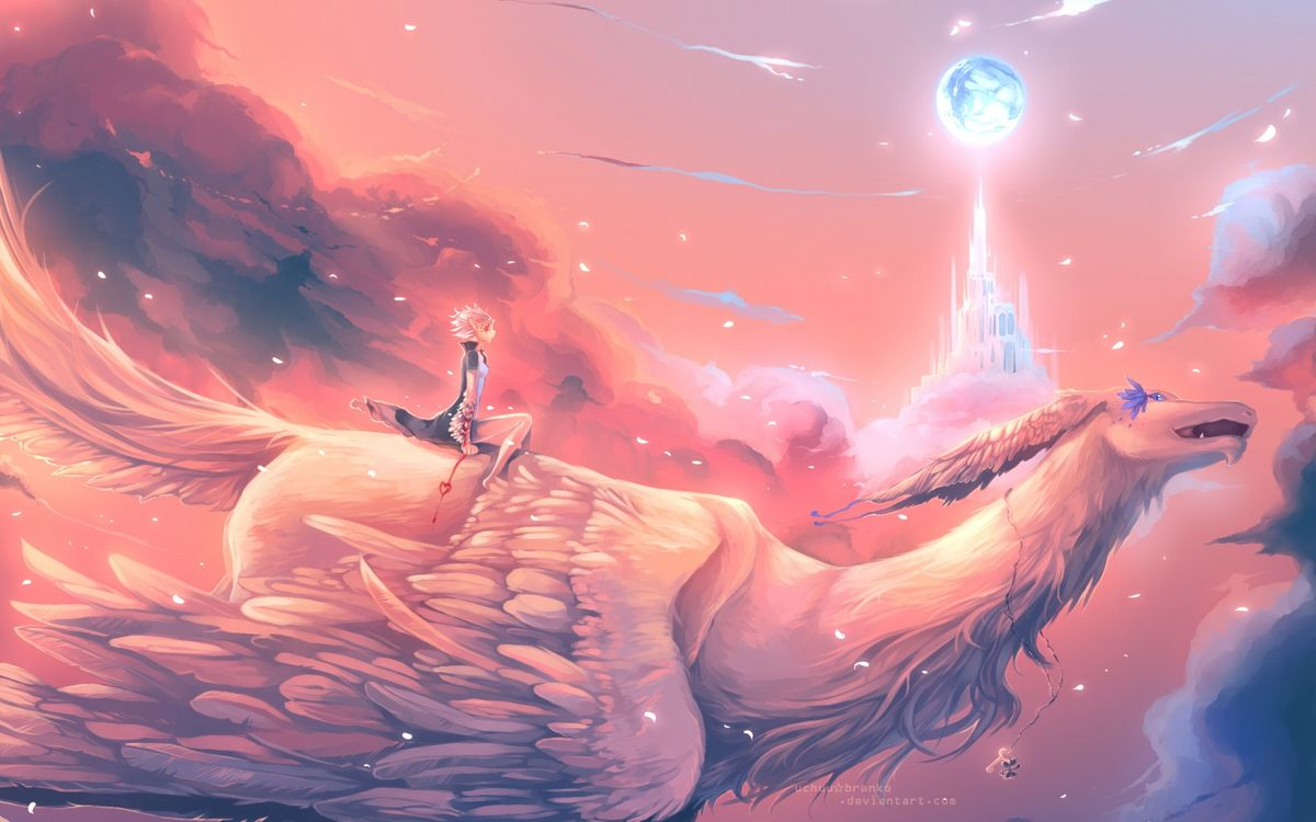 Фото бесплатно девушка, полет, крылья, замок, тучи, небо, аниме, аниме