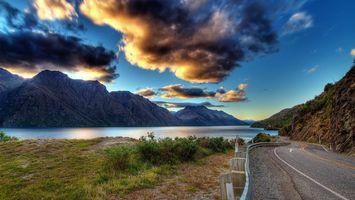 Бесплатные фото дорога, загородная, горы, река, облака, пейзажи