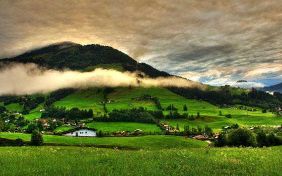 Заставки гора, холм, дома