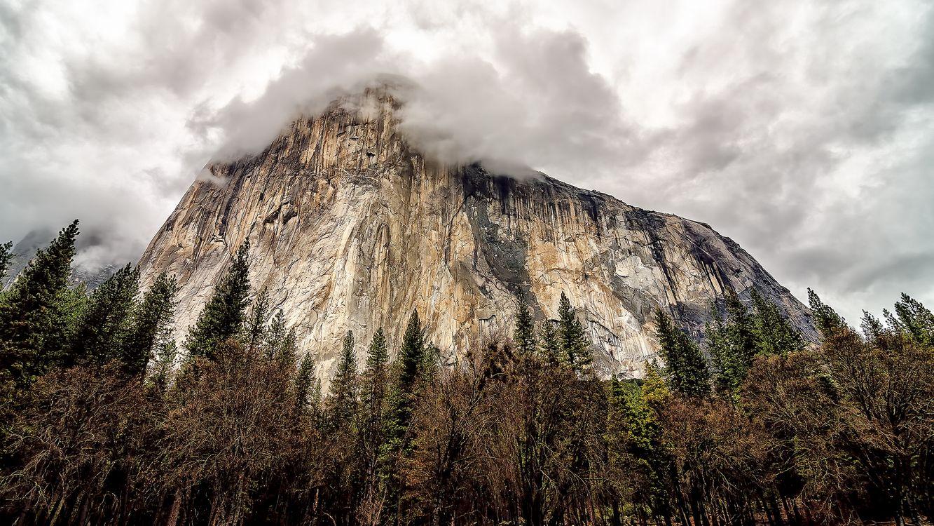 Фото бесплатно гора, скала, камни, деревья, облака, природа, пейзажи, пейзажи