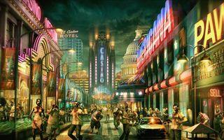 Бесплатные фото город,огни,люди,кровь,вывески,небо,3d графика
