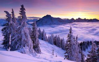 Фото бесплатно солнце, снег, вершины