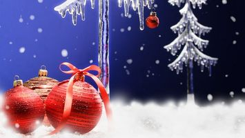 Фото бесплатно игрушки, шарики, синий, лед, елки, разное