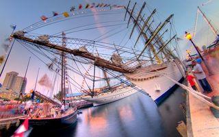 Заставки корабли, гавань, пристань, причал, люди, порт, море