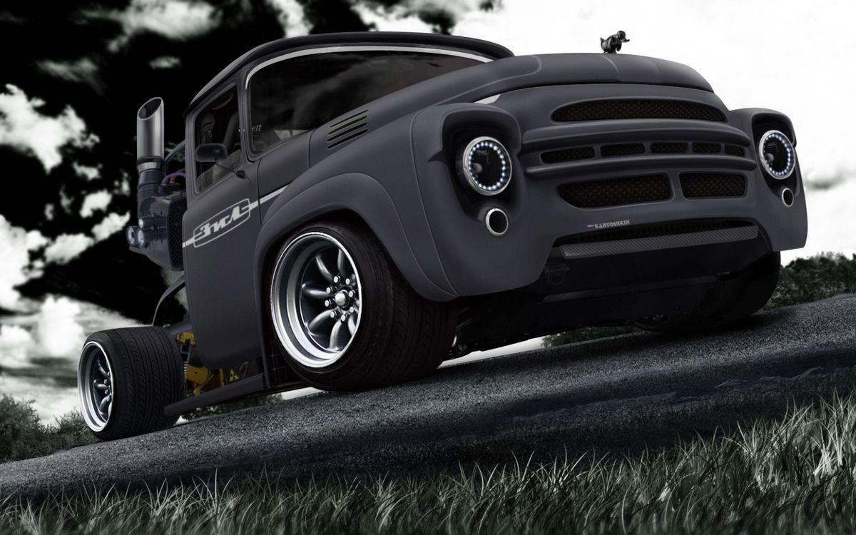 Фото бесплатно машины, зил, грузовик, тюнинг, обои, черный, матовый, машины