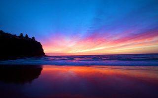 Бесплатные фото море,пляж,закат,небо,отражение,пейзажи