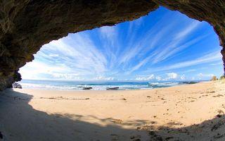Бесплатные фото море, пляж, пещера, песок, волны, облака
