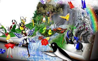 Бесплатные фото мультяшки,герои,пингвин,рисунок,бабочки,крот,лягушки