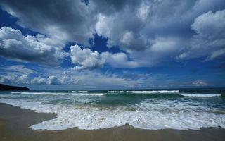 Заставки небо, облака, тучи, пляж, море, океан, вода