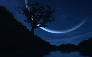 Заставки небо, синее, звезды, луна, месяц, человек, ночь, сумерки, море, вода, река, природа
