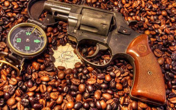 Фото бесплатно пистолет, револьвер, кофе