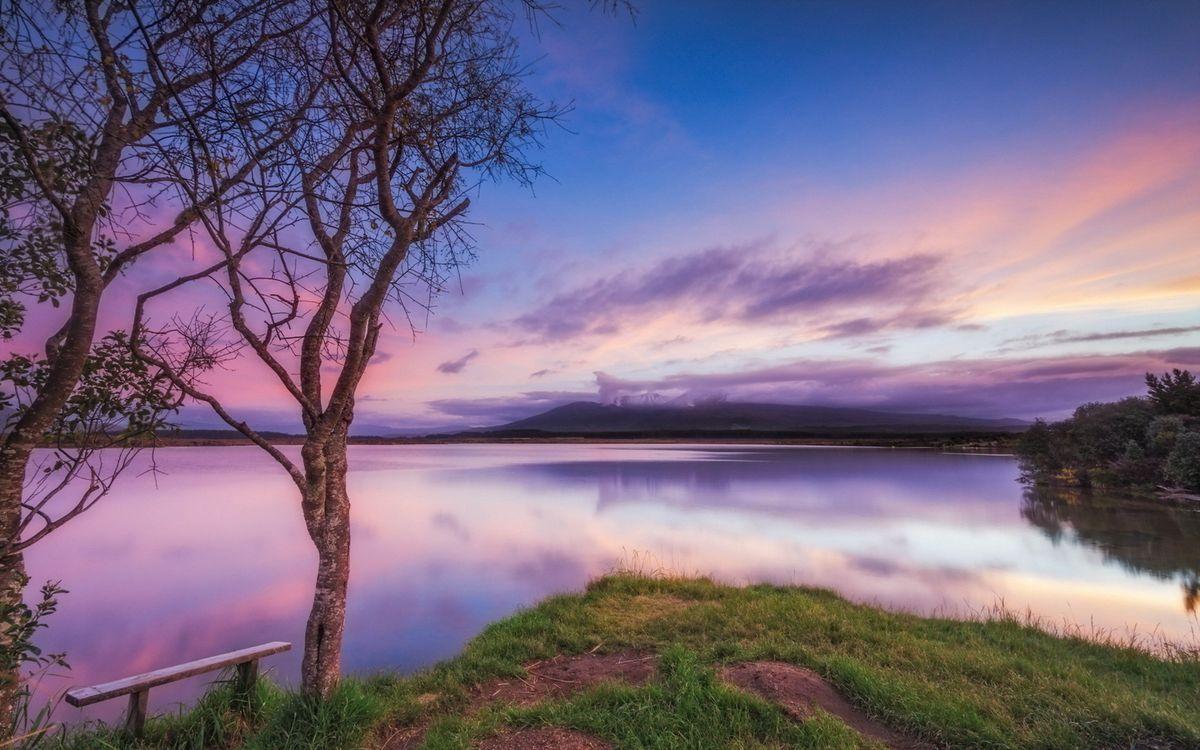 Фото бесплатно река, озеро, рассвет, небо, облака, деревья, скамейка, берег, трава, пейзажи, пейзажи