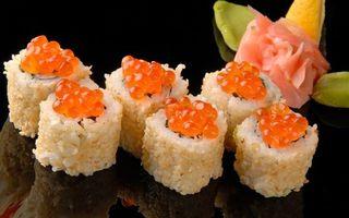 Заставки суши,рис,ролл,рыба,икра,вкуснятина,отражение