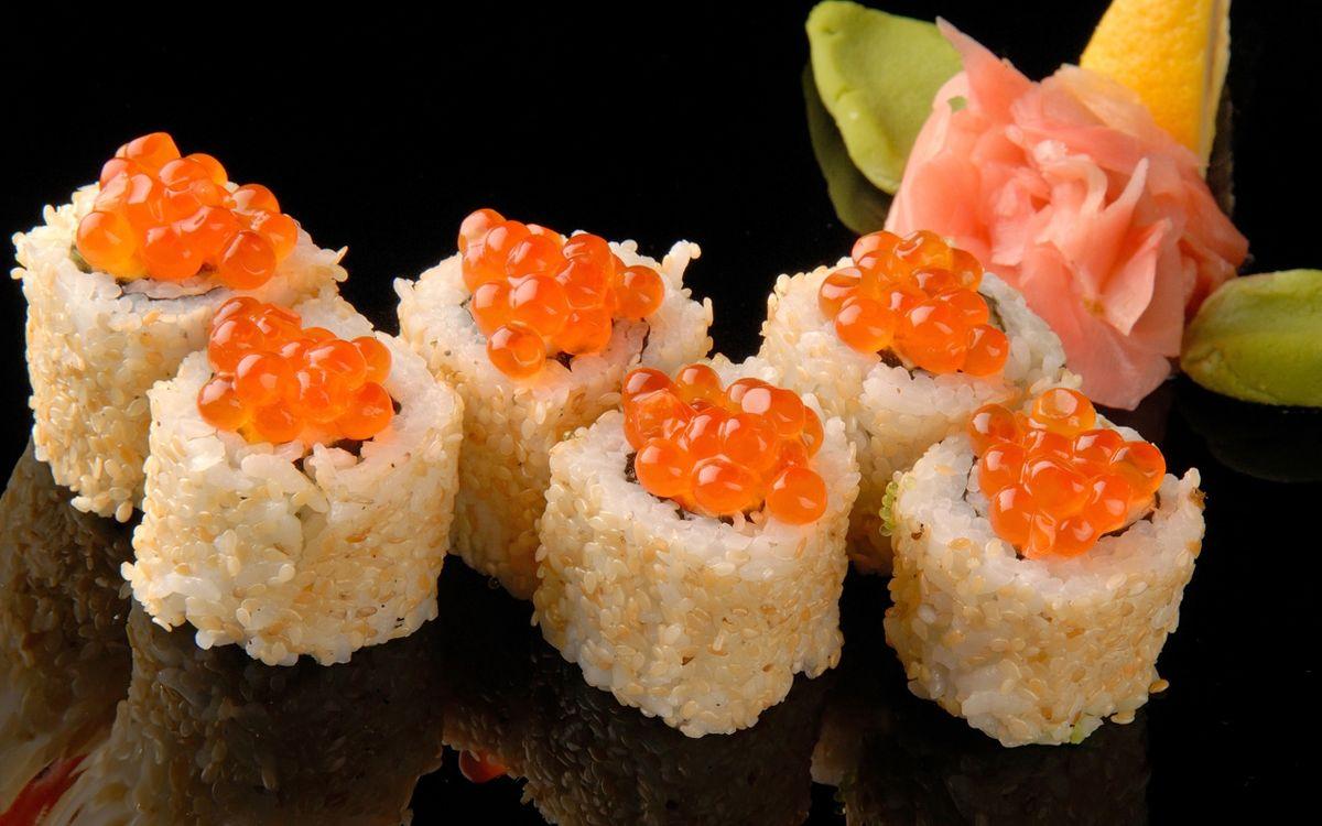 Фото бесплатно суши, рис, ролл, рыба, икра, вкуснятина, отражение, еда, еда