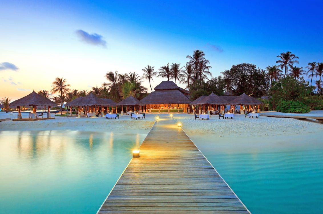 Фото бесплатно тропики, мальдивы, остров, пляж, ресторан, разное, разное