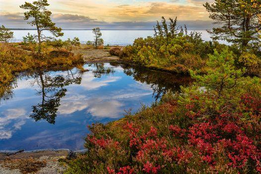 Заставки Вермланда,Швеция,Природа,Пейзаж,морской пейзаж,Закат солнца