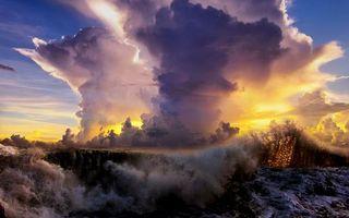 Бесплатные фото вода,волна,брызги,небо,облака,тучи,свет