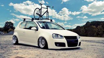 Бесплатные фото volkswagen,golf,белый,цвет,низкая,посадка,диски