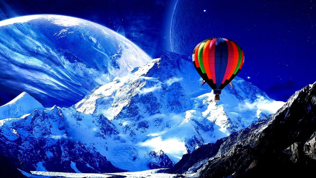 Фото бесплатно воздушный шар, горы, снег, планета, небо, новые миры, фантастика, фантастика