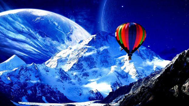 Бесплатные фото воздушный шар,горы,снег,планета,небо,новые миры,фантастика