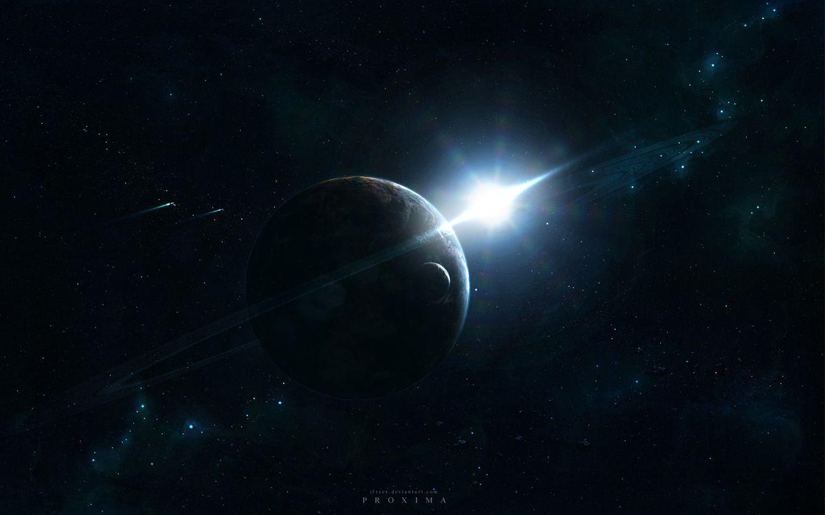 Фото бесплатно звёзды, планета, космос, сияние, свет, кольцо, спутник, разное