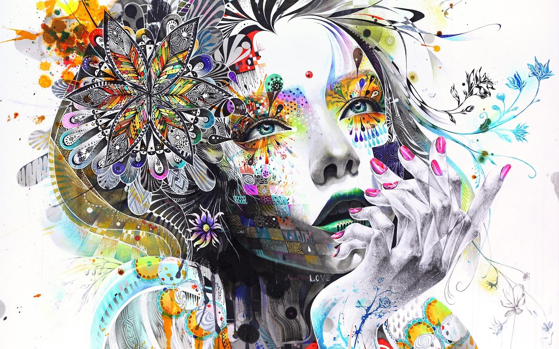 абстракция, картина, девушка