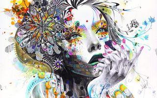 Обои абстракция, картина, девушка, краски, цветы, рука, задумчивая, рендеринг