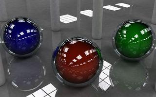 Бесплатные фото 3D шарики,зеркальный пол,отражение,3 шарика,разного цвета,синий,коричневый
