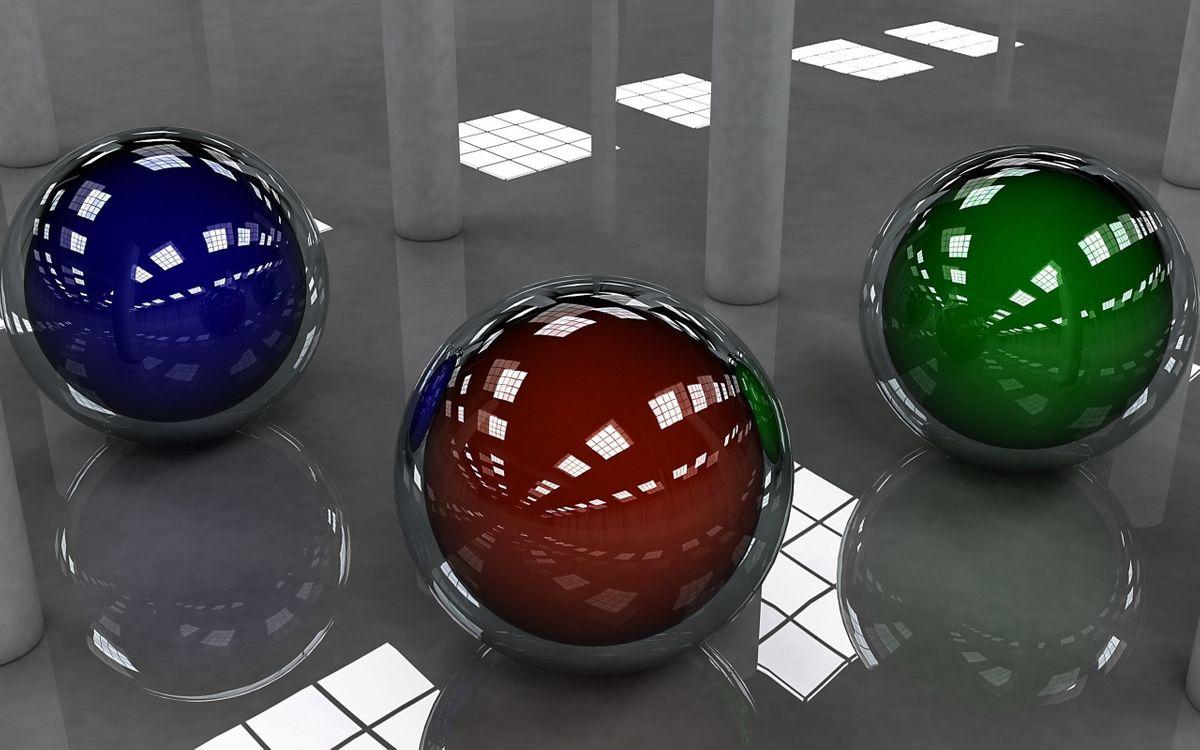 Фото бесплатно 3D шарики, зеркальный пол, отражение, 3 шарика, разного цвета, синий, коричневый, зеленый, колонны, помещение, отражение крыши, 3d графика