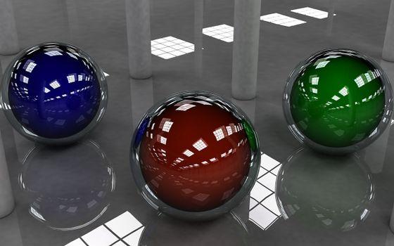 Бесплатные фото 3D шарики,зеркальный пол,отражение,3 шарика,разного цвета,синий,коричневый,зеленый,колонны,помещение,отражение крыши