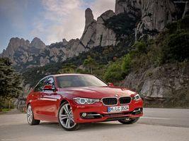 Бесплатные фото bmw 3, красная, большие, диски, машины