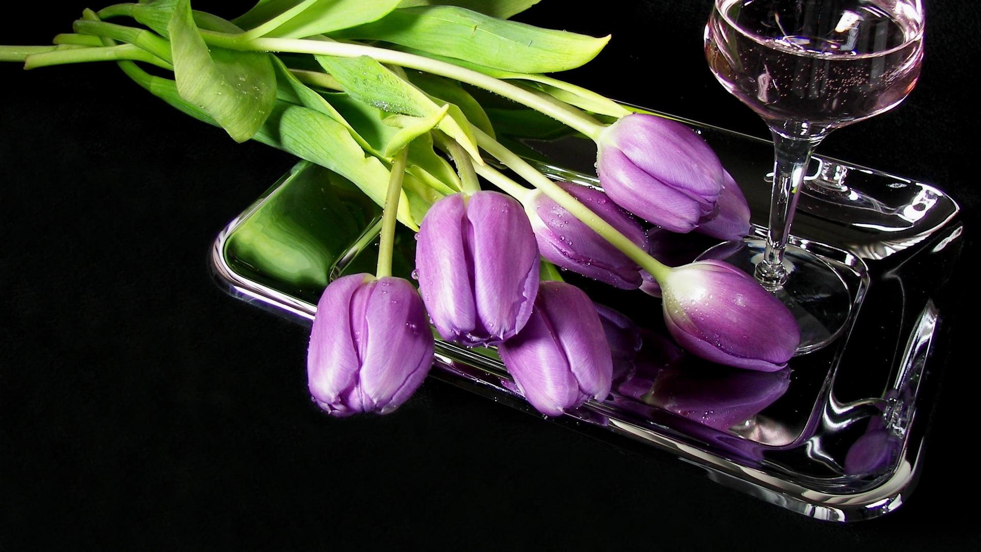 цветы, сиреневые, бокал