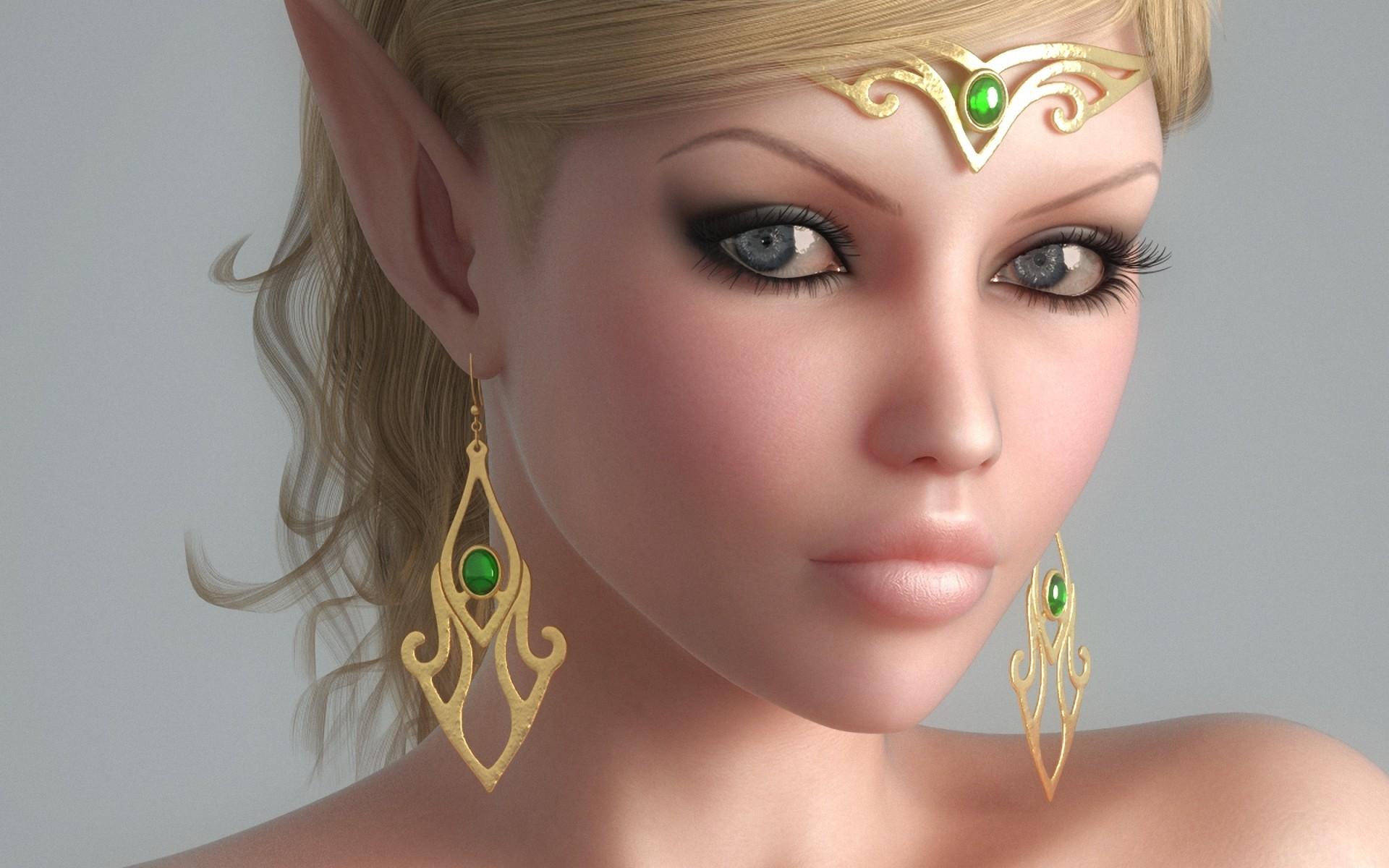 девушка, эльф, глаза