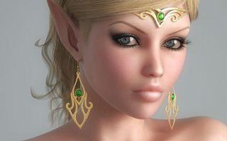 Фото бесплатно девушка, эльф, глаза, губы, уши, острые, украшения, рендеринг